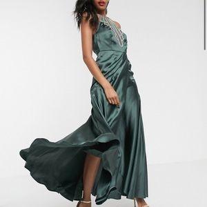 ASOS embellished green satin dress